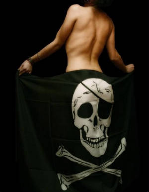 Nude Girl in a Skull and Bones Flag with Black background