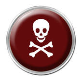 Jolly Roger, Skull and Bones,  framed in gray with white field back ground, silver rim burgundy button